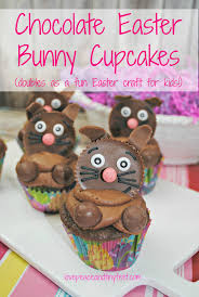chocolate easter bunny cupcakes doubles as an easter craft for kids