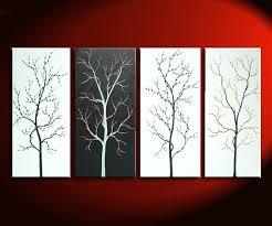 black and white tree painting zen asian cherry blossom