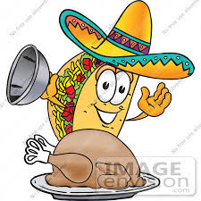 clip graphic of a crunchy taco character serving a