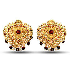 temple design gold earrings buy surat diamonds temple design real freshwater pearl brown