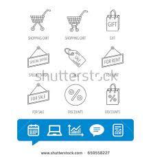 shopping cart gift bag sale coupon stock vector 705104821