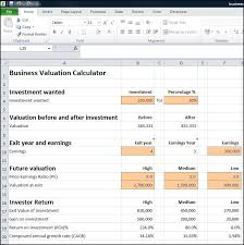 Business Valuation Excel Template Business Valuation Calculator Plan Projections