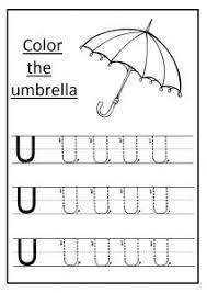 upper letter u tracing worksheet for kindergartners archives
