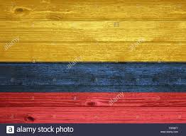 Wooden Nautical Flags Colombia Flag Painted On Old Wood Plank Background Stock Photo