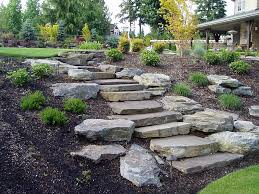 slope landscaping with stone hardscapes patios u0026 walls