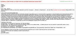 volunteer services assistant offer letter