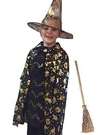 Halloween Costume Cape Kids Witch Wizard Halloween Costume Cape Hat Broom Stick