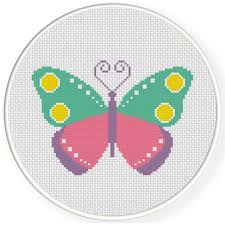 charts members only colorful butterfly cross stitch pattern