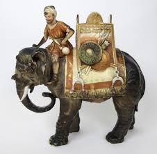 Porcelain Elephant A Royal Dux Porcelain Model Of An Indian War Elephant And Rider A