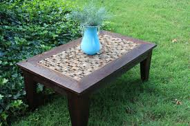 hand made coffee table glass stone tile mosaic reclaimed wood