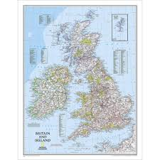 Map Of Ireland And England by Britain And Ireland Classic Wall Map National Geographic Store