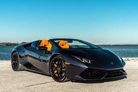 black lamborghini lamborghini huracan spyder black miami exotics car rentals