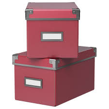 desk organization kassett box with lid dark pink 6 x10 x6