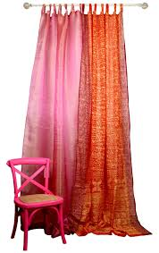 fuchsia pink orange curtain combo set sari curtain colorful