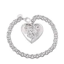 love pendant bracelet images Bodya love heart locket pendant bracelet rose flower engraved jpg