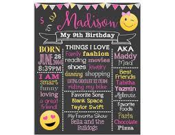 birthday chalkboard girl emoji birthday chalkboard sign