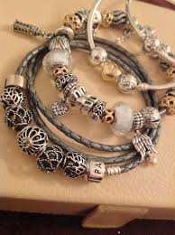 leather bracelet with silver charm images Tendance bracelets pandora trio of bracelets with silver jpg