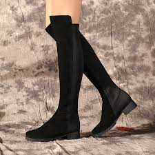 s high boots s fall winter flats knee high boots stretch fabric patchwork