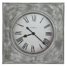 Wall Clock Howard Miller Antique Large Square Metal Bezel Aged White Gray