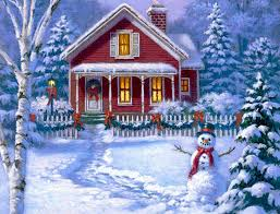 winter red houses house four year holidays paintings winter