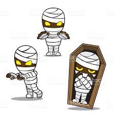 cute halloween cartoons halloween character set cute mummy cartoon vector illustration