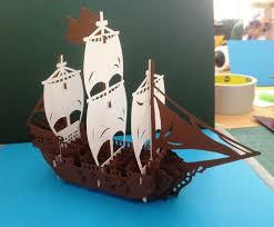 Free Kirigami Card Templates Greeting Card Pop Up Art Of Sailboat It Is A Combination Of
