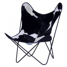 aa butterfly black white cow skin armchair aa design