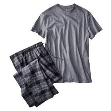 merona mens pajama set flannel sleeve solid t shirt