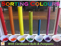 sorting colours cardboard tubes learning 4 kids