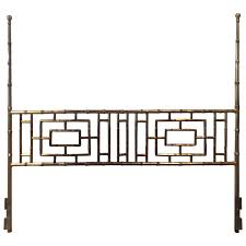 Henredon King Bedroom Set With Bridge Faux Bamboo Chinese Chippendale Vintage King Size Headboard Bed