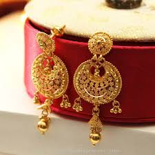 big jhumka gold earrings details about 22k gold plated 3 steps indian bridal party jhumka