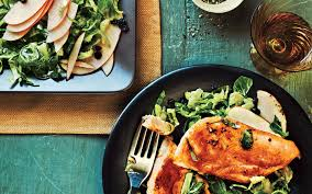 cooking light diet recipes maple glazed chicken with apple brussels sprout slaw from the