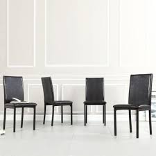 Faux Leather Dining Chairs With Chrome Legs Homesullivan Bedford Black Faux Leather Dining Chair Set Of 4