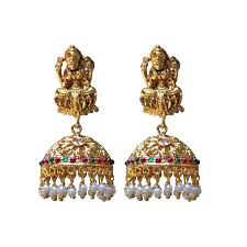 gold jhumka earrings cuff earrings golden jhumki back earrings buy jhumka