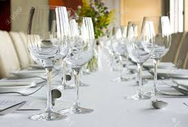 banquet table setting in gourmet restaurant stock photo picture