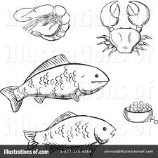 seafood clipart fish coloring pencil and in color seafood