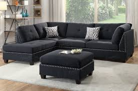 black fabric sectional sofa and ottoman steal a sofa furniture