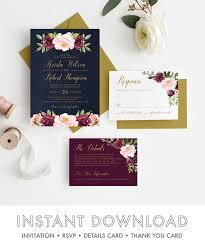 navy wedding invitations burgundy and navy wedding invitations marsala wedding invitations