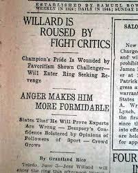 Seeking Grantland 1919 Dempsey Vs Jess Willard Rarenewspapers