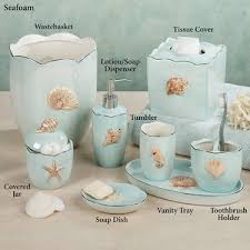 Shell Bathroom Accessories by Mare Shells Coastal Seafoam Bath Accessories Favorite Places