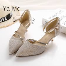 wedding shoes low heel pumps fashion pointed toe pumps women silver stilettos heels shoes ankle