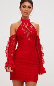 red lace halterneck frill sleeve bodycon dress dresses