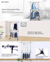 amazon com songmics adjustable double rods garment rack rolling