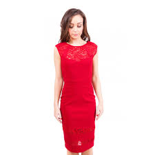 dolls red lace insert sweetheart neckline bodycon dress
