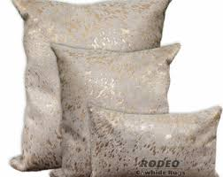 Metallic Cowhide Pillow Gold Cowhide Etsy