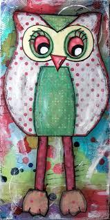 Owls Home Decor Original Mixed Media On Canvas Painting Home Decor Artwork