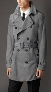 burberry suede trench coat in gray for men lyst