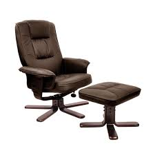comfortable chair with ottoman pu leather lounge office recliner chair ottoman chocolate