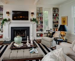 built in bookshelves around window dining room traditional with