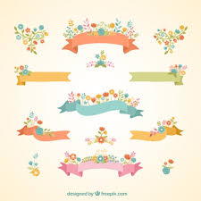 floral ribbon floral ribbon banners vector free
